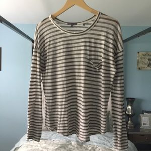 EUC Vince Sz M Gray Brown Striped Long Sleeve